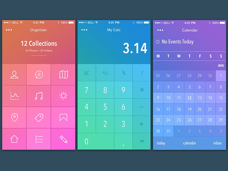 3D Interactive Gestures GIF (attached) ui 3d interactive gif animation gestures icons calendar organiser calculator after effects photoshop
