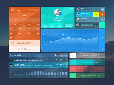 Freebie - Uistic Kit ui kit freebie uistic charts graphs photoshop vector repo profile progress alerts calendar
