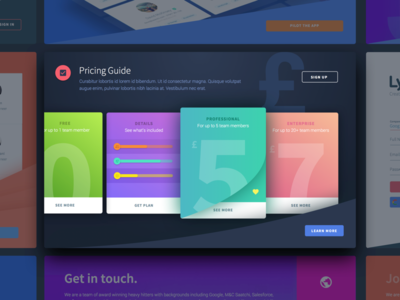 Lystable Landing Page kalo kalo page cards site marketing icons modular sketch ui