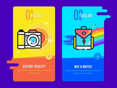 Onboarding Illustrations rainbow camera backpack icon coloured ui filled sketch onboarding on boarding icons