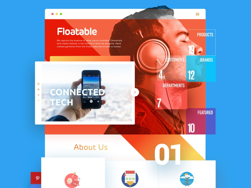 Floatable grid colourful modular vibrant sketch block diagonal geometric app web design ui floatable