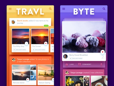 TravlByte analytics gradients sketch mobile places food cards recommendations ui bite travel travlbyte