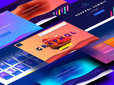 GraphQL Summit 2017 Designs topography cards blending illustrations gradients 2017 summit meteor graphql sketch website site design