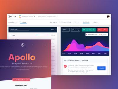 Apollo Dashboad gradients lightui sketch app website charts dashboard graphql apollo