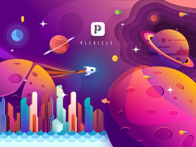 Plexicle iOS Game Graphics plexicle game design game art ios app space colourful graphics game ios vector illustration icon app design animation icons sketch