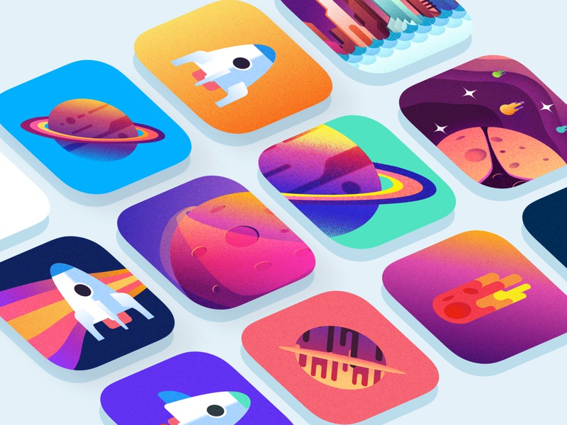 Plexicle App Icons colourful gradients graphic design rocket game ios app ios app icon plexicle vector illustration app icons sketch