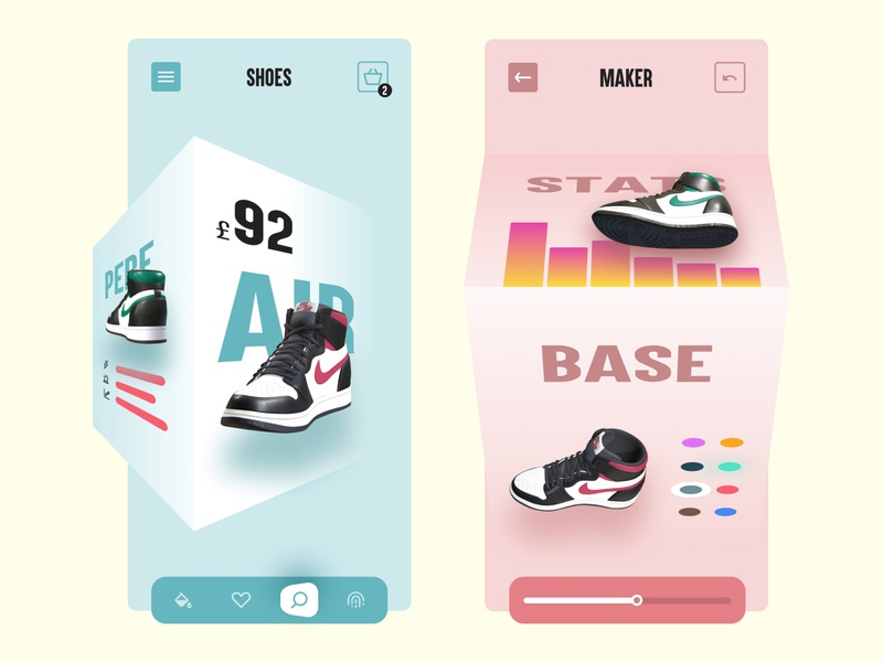 Nik3D VR icons nike shoes ar cube analytics stats 3d ui app mobile nike air jordans nike air futuristic sketch design vr nike3d