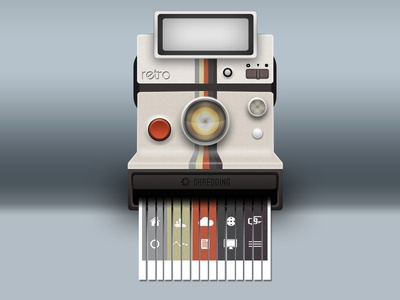 Polaroid Land Camera with Built-in Shredder polaroid camera shredder icons photoshop land retro