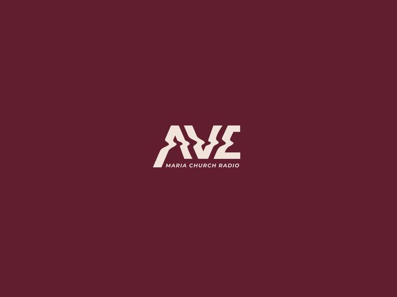 Ave Maria Logo illusion font type negative space identity icon brand mark clean symbol church frequency wave sound logo radio
