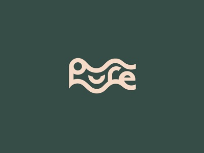 Pure Logo clear text letters typoraphy font type brand icon clean mark symbol stream waves flow logo water pure