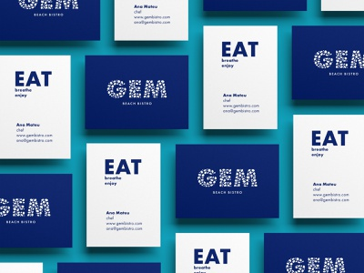 Gem Beach Bistro typeface font type clean fresh water ocean sea rock pebble brand meal restaurant food eat jewel logo bostro gem