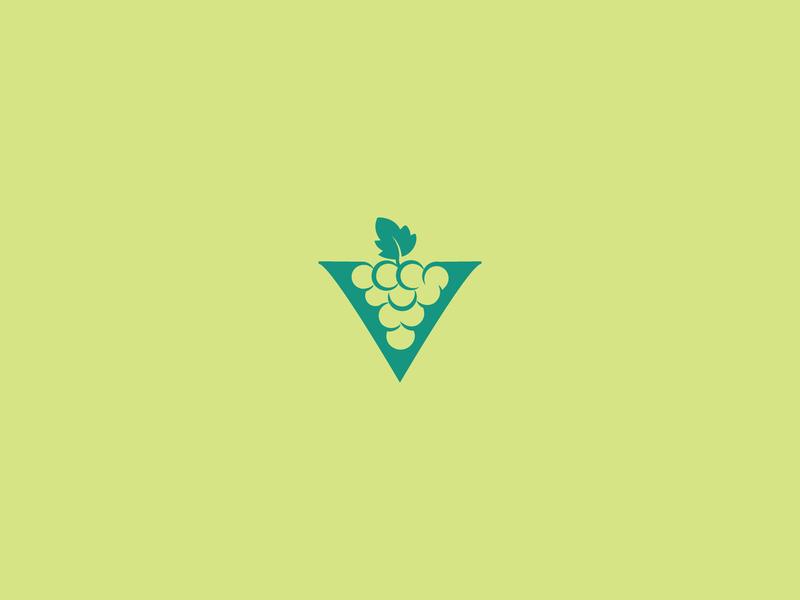 Green Grapes Wine fruit grape negative space logo mark symbol icon clean bottle wine grapes green