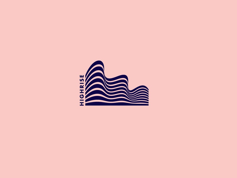 Highrise -Building Logo waves wave lines levels negative space identity brand icon clean symbol logo mark architecture appartment block builder buildings building