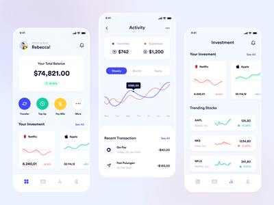 Bangbank - Mobile App bank app mobile app mobile ui banking app investment stock stocks banking bank mobile userinterface apps ux minimalism design ui exploration