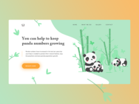 Exploration Panda Landingpage popular shots animation exploration website web animal bamboo donate illustration panda landing page