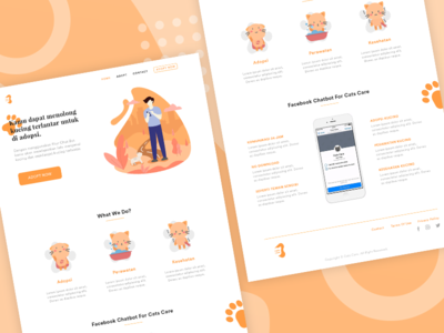 Cats Care homepage cat website landing page adoption ui design apps animal illustration