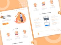 Cats Care homepage cat website landing page adoption ui design apps animal illustration