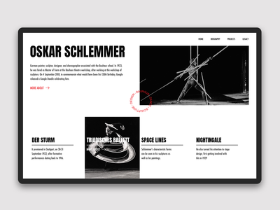 About Oskar Schlemmer - main page concept