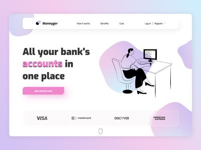 Moneyger - Bank accounts manager - Concept minimalist wallet money bank glassmorphism gradient