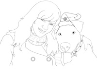 Holiday Card Portrait Illustration (A Woman and Her Furry Man)