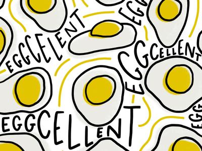 Eggcellent food illustration surface design pattern illustration