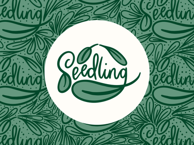 Seedling Logo and Branded Pattern colorful illustration design monochromatic logo hand lettered lettering branding design branding and identity branding hand lettering illustration