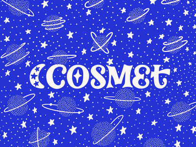 Cosmet Logo with Branded Pattern logotype colorful logo hand lettered branding design branding and identity branding illustration lettering hand lettering illustrated pattern