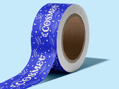 Cosmet Packing Tape logotype colorful monochromatic hand lettered illustration branding and identity branding hand lettering packaging design packaging