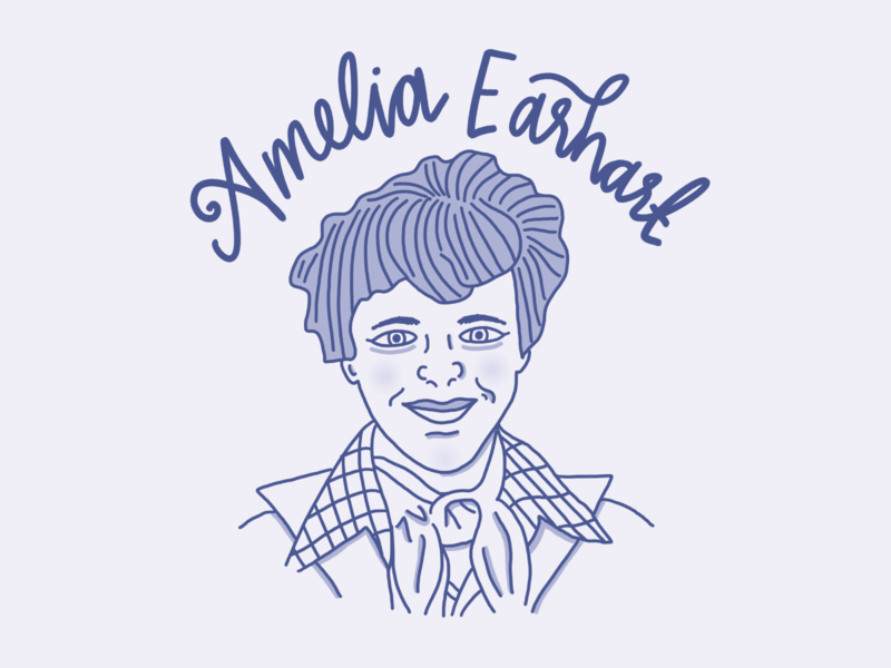 Amelia Earhart - Weekly Historical Figure history monochromatic illustration lettering hand lettering social media graphics
