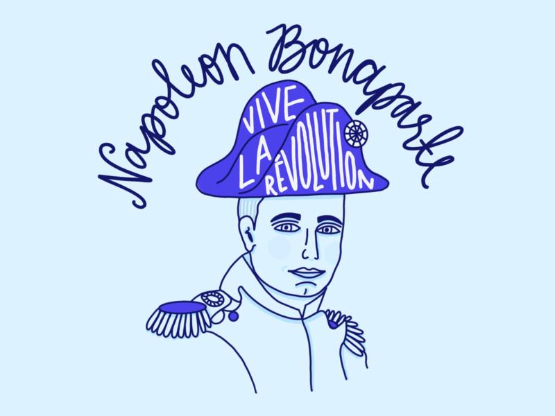 Napoleon Bonaparte Illustration hand lettering monochromatic hand lettered lettering podcast art history illustration