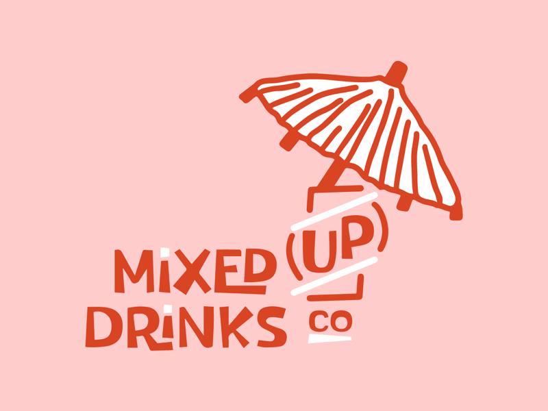 Mixed Up Drinks Logo beer branding branding design monochromatic branding and identity illustration branding logo
