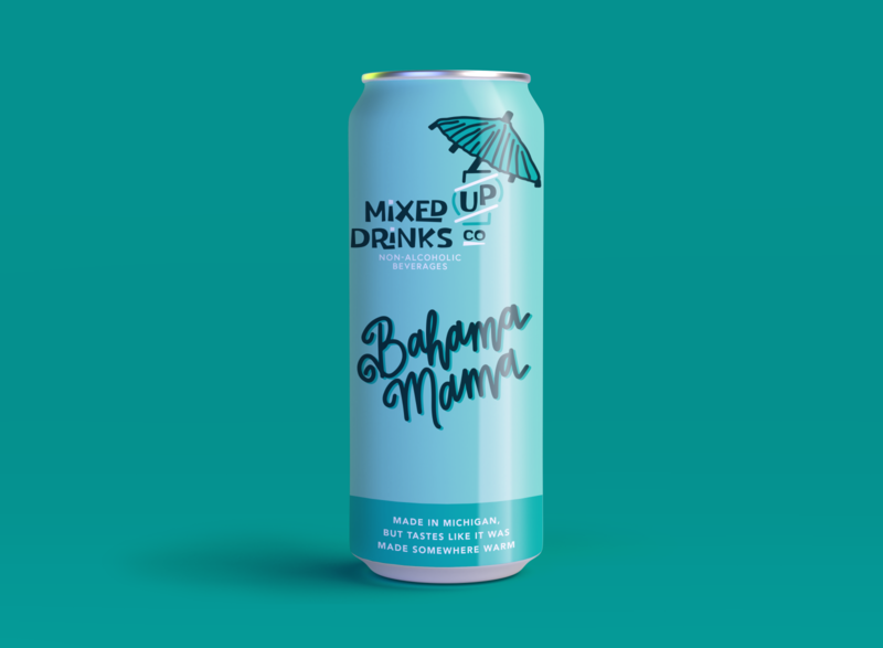 Bahama Mama Mixed Up Can Design hand lettered illustration lettering branding packaging packaging mockup packaging design branding design branding and identity hand lettering monochromatic