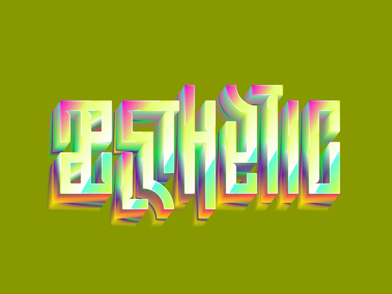Aesthetic Gold Effect distort vector lettering art typography logotype colors gradient gold lettering