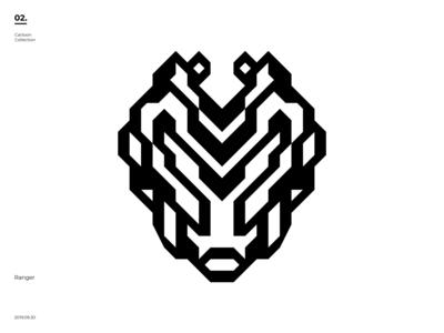 Cartoon Collection - Ranger robot ranger line art symmetry illustration black  white symmetric negativespace minimal