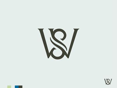 Well Springs WIP Monogram water waves design type logo monogram