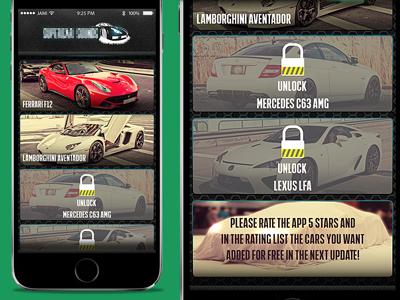 iOS App Menu Design car ios app modern flat sounds green iphone6 super cars ferrari lamborghini