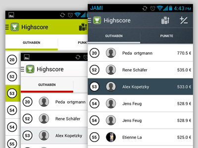 Android app UI bat batting android app ios color scheme sports highscore competition concept flat new