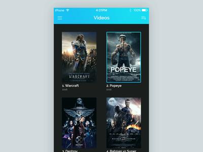 Videos/Movies listing flat broadcast grid view listing videos thumbnails movies