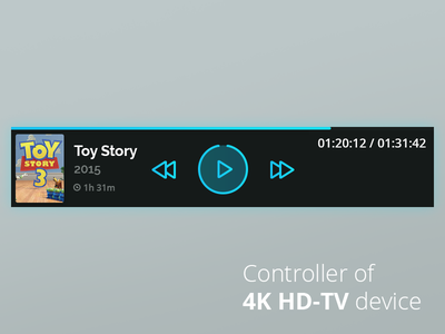 Video Player Controls for 4K HD-TV device hd led movie media controls play player ui tv 4k