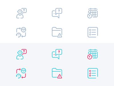 Icons - Redesign training support listing base knowledge issue icon glossary folder error community communication