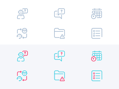Icons - Redesign training support listing base knowledge issue icon glossary folder error community communication