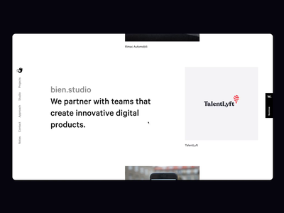 Introducing the new bien.studio studio modern grid unusual navigation bien homepage