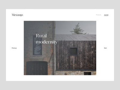 Metauro → Journal architecture conceptual exploration transition prototype figma website