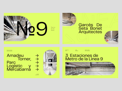 3  Estaciones de Metro de la Línea 9 telegraf presentation modern pangram architecture layout