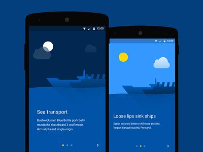 Onboarding screen illustrations sea transport onboarding illustration ship ships blue