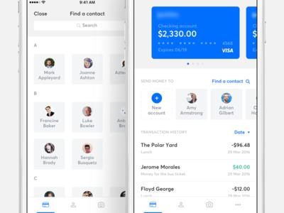 Banking app - Home screen homescreen ios banking bank finance send money card transactions contacts cards financial