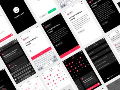Dreamery iOS UI designs