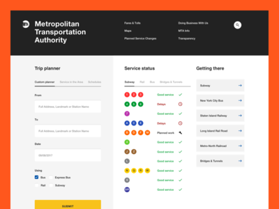 Metropolitan Transit Authority - Landing page new york transportation information rail bus subway transit mta