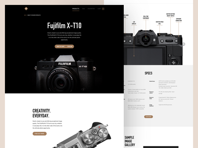 Camera product page cart features specs presentation product digital fuji camera