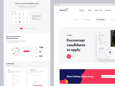 TalentLyft landing pages landing page design candidates features product shapes recoleta web app tool hiring landing page